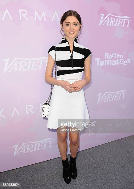Actress Natalia Dyer attends Variety's celebratory brunch event for awards nominees benefitting Motion Picture Television Fund at Cecconi's on...