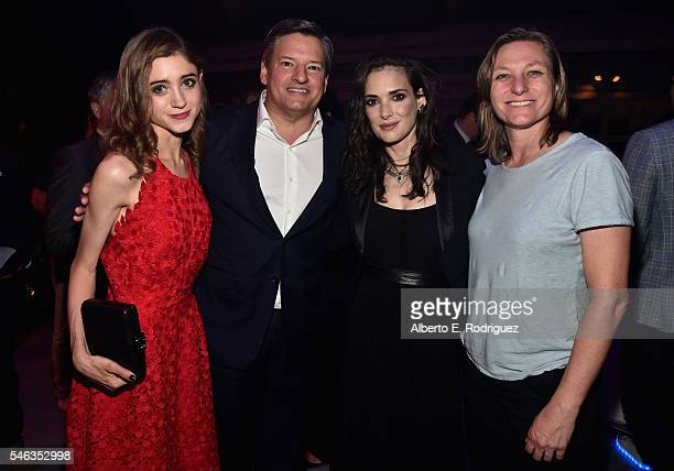 Actress Natalia Dyer Chief Content Officer for Netflix Ted Sarandos actress Winona Ryder and VP Original Content for Netflix Cindy Holland attend the...