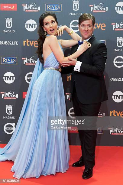 Actress Natalia Oreiro and Carlos Latre attend the Platino Awards 2017 photocall at the La Caja Magica on July 22 2017 in Madrid Spain