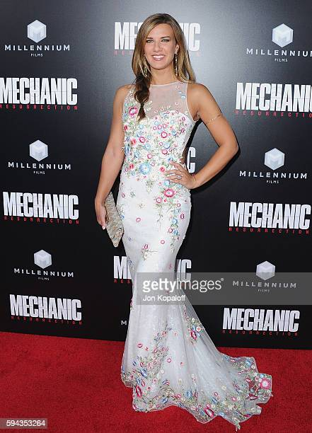 Actress Natalie Burn arrives at the Los Angeles Premiere 'Mechanic Resurrection' at ArcLight Hollywood on August 22 2016 in Hollywood California