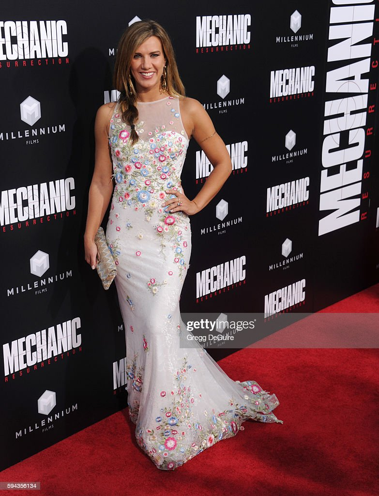 Actress Natalie Burn arrives at the premiere of Summit Entertainment's 'Mechanic Resurrection' at ArcLight Hollywood on August 22 2016 in Hollywood...