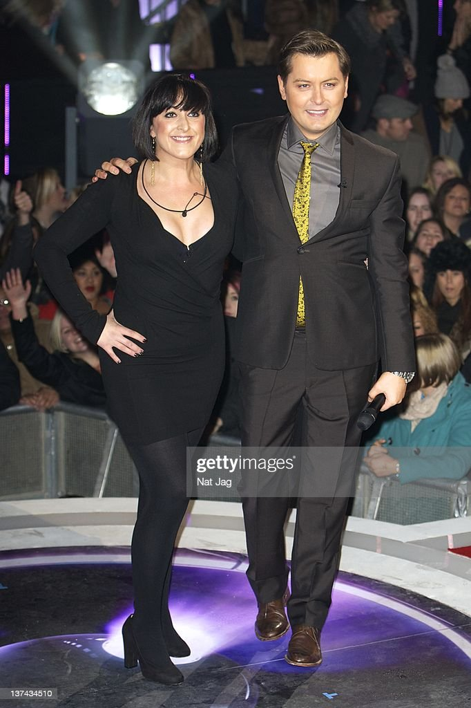 Actress <a gi-track='captionPersonalityLinkClicked' href=/galleries/search?phrase=Natalie+Cassidy&family=editorial&specificpeople=708103 ng-click='$event.stopPropagation()'>Natalie Cassidy</a> with host Brian Dowlinng is the fifth person to get evicted from Celebrity Big Brother at Elstree Studios on January 20, 2012 in Borehamwood, England.