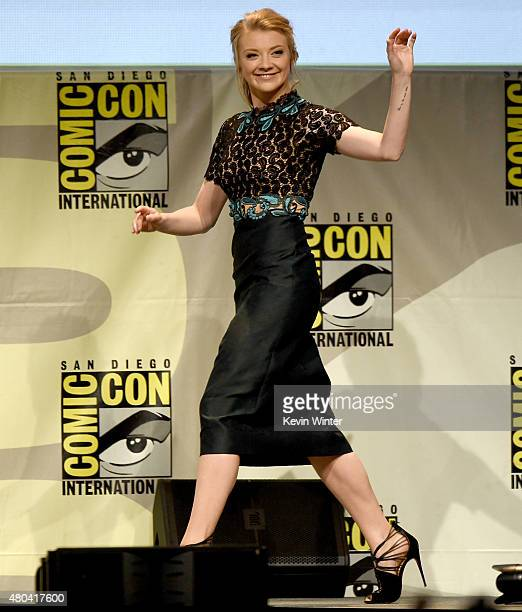 Actress Natalie Dormer speaks onstage at the Screen Gems panel for 'Patient Zero' and 'Pride and Prejudice and Zombies' during ComicCon International...