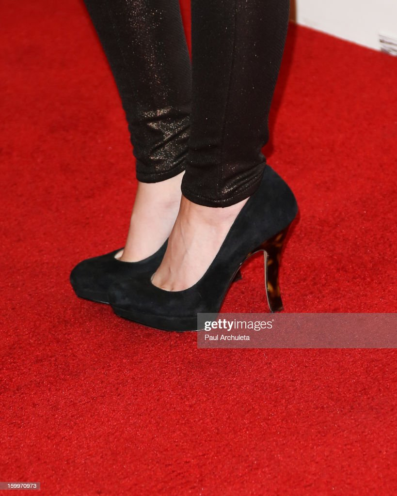 Actress Natalie Dreyfuss (Shoe Detail) attends the LA Art Show opening night party at Los Angeles Convention Center on January 23, 2013 in Los Angeles, California.