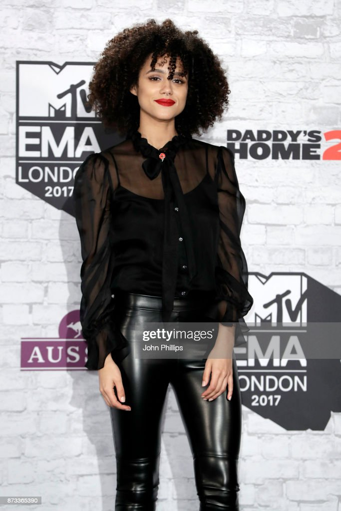 Actress Natalie Emmanuel poses in the winner's room during the MTV EMAs 2017 held at The SSE Arena, Wembley on November 12, 2017 in London, England.