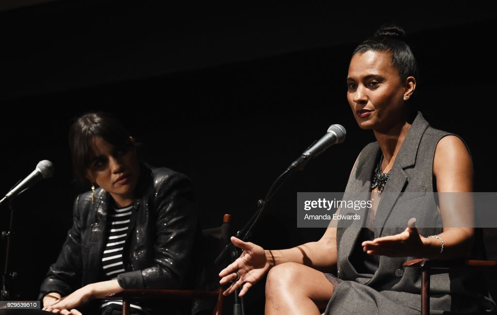Actress Natalie Morales (L) and Los Angeles Sparks President and COO Christine Simmons attend The Wiltern's Women's Day Celebration screening and panel for 'Battle of the Sexes' at The Wiltern on March 8, 2018 in Los Angeles, California.