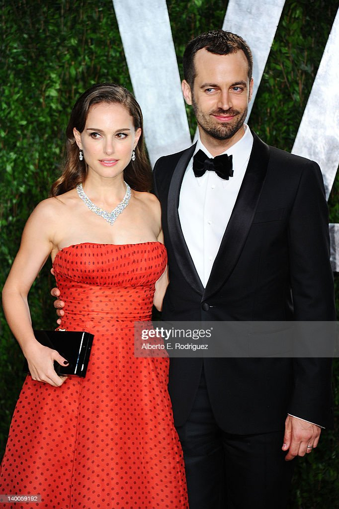 Actress Natalie Portman (L) and Benjamin Millepied arrive at the 2012 Vanity Fair Oscar Party hosted by Graydon Carter at Sunset Tower on February 26, 2012 in West Hollywood, California.