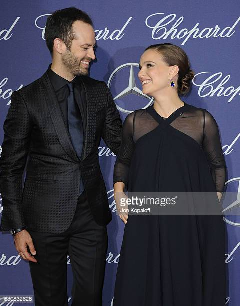 Actress Natalie Portman and Benjamin Millepied arrive at the 28th Annual Palm Springs International Film Festival Film Awards Gala at Palm Springs...