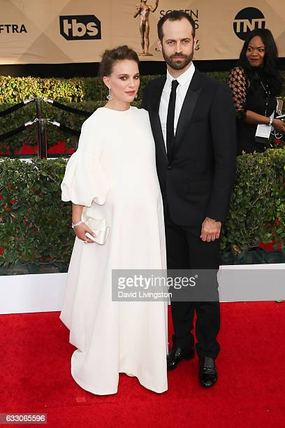 Actress Natalie Portman and Benjamin Millepied attend the 23rd Annual Screen Actors Guild Awards at The Shrine Expo Hall on January 29 2017 in Los...