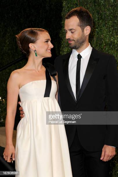 Actress Natalie Portman and choreographer Benjamin Millepied arrive at the 2013 Vanity Fair Oscar Party hosted by Graydon Carter at Sunset Tower on...