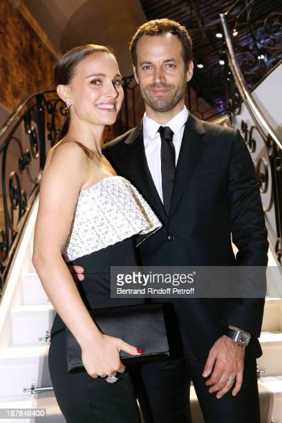 Actress Natalie Portman and Choreographer Benjamin Millepied attend the 'Esprit Dior Miss Dior' Exhibition Opening Cocktail event on November 12 2013...