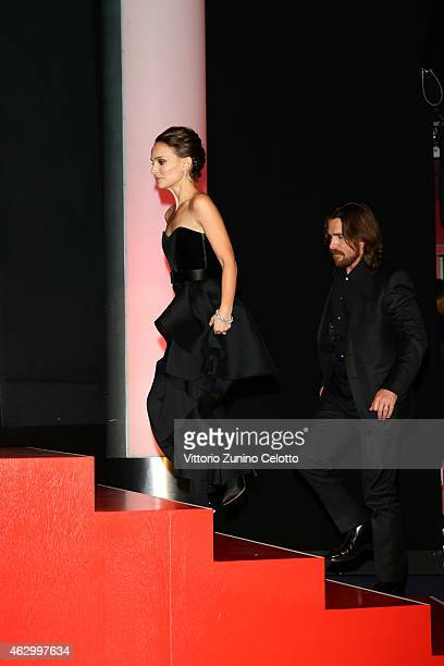 Actress Natalie Portman and Christian Bale attend the 'Knight of Cups' premiere during the 65th Berlinale International Film Festival at Berlinale...