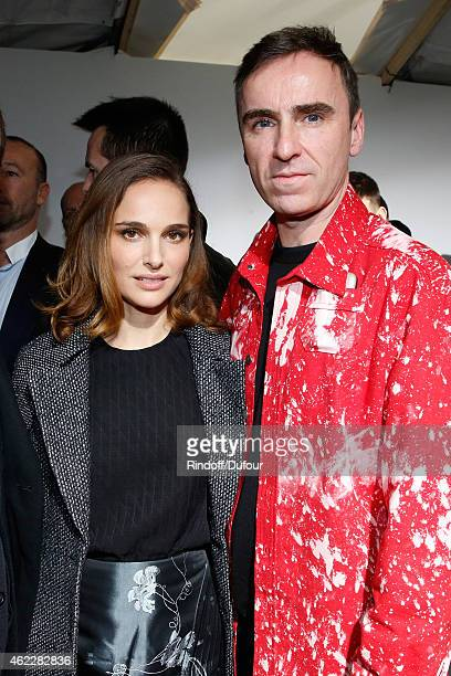 Actress Natalie Portman and Fashion Designer Raf Simons pose backstage after Christian Dior show as part of Paris Fashion Week HauteCouture...