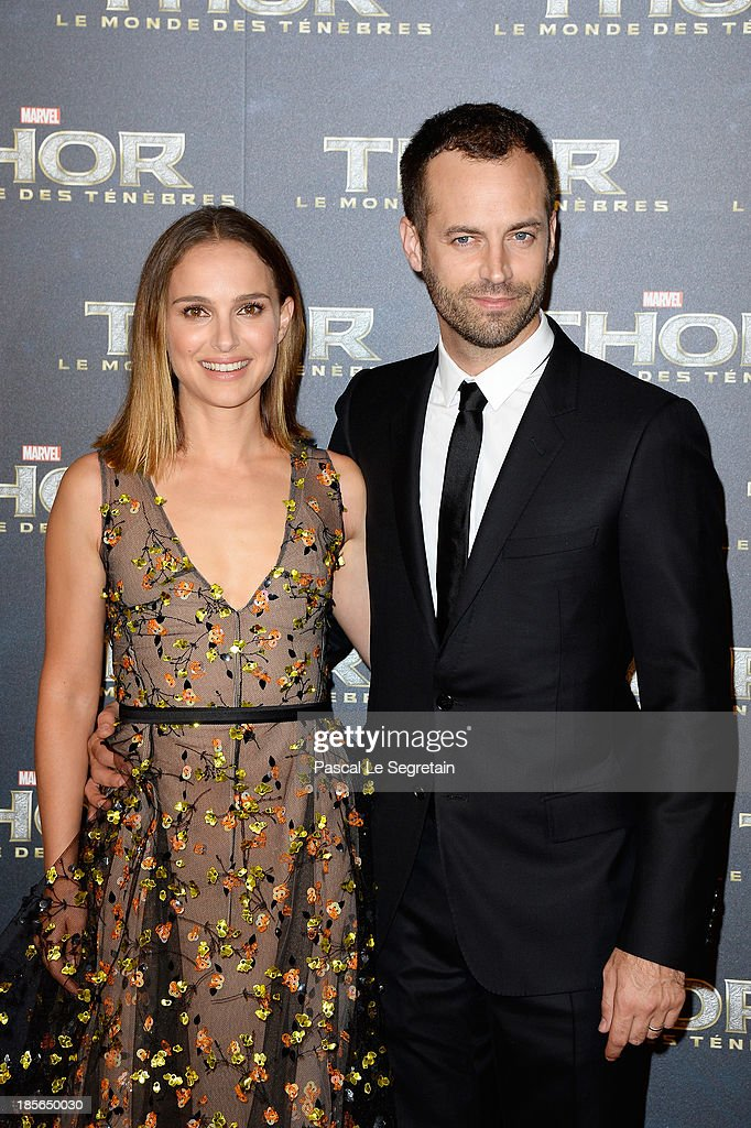 Actress <a gi-track='captionPersonalityLinkClicked' href=/galleries/search?phrase=Natalie+Portman&family=editorial&specificpeople=202035 ng-click='$event.stopPropagation()'>Natalie Portman</a> and her husband <a gi-track='captionPersonalityLinkClicked' href=/galleries/search?phrase=Benjamin+Millepied&family=editorial&specificpeople=6539957 ng-click='$event.stopPropagation()'>Benjamin Millepied</a> attend 'Thor: The Dark World' Premiere at Le Grand Rex on October 23, 2013 in Paris, France.