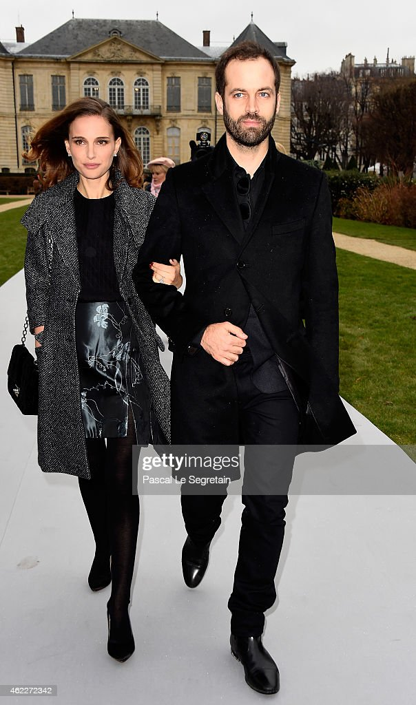 Actress Natalie Portman (L) and her husband Benjamin Millepied attend the Christian Dior show as part of Paris Fashion Week Haute Couture Spring/Summer 2015 on January 26, 2015 in Paris, France.
