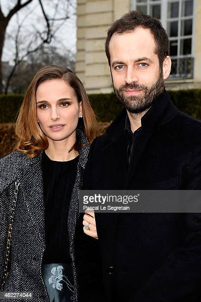 Actress Natalie Portman and her husband Benjamin Millepied attend the Christian Dior show as part of Paris Fashion Week Haute Couture Spring/Summer...