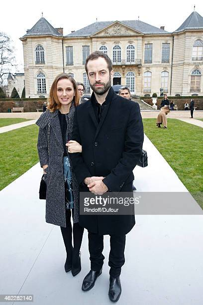Actress Natalie Portman and her husband Paris National Opera dance director Benjamin Millepied attend the Christian Dior show as part of Paris...