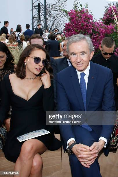 Actress Natalie Portman and Owner of LVMH Luxury Group Bernard Arnault attend the Christian Dior Haute Couture Fall/Winter 20172018 show as part of...