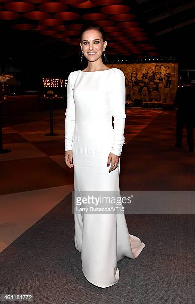 Actress Natalie Portman attends the 2015 Vanity Fair Oscar Party Viewing Dinner hosted by Graydon Carter at the Wallis Annenberg Center for the...