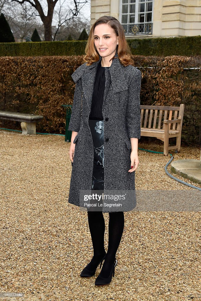 Actress Natalie Portman attends the Christian Dior show as part of Paris Fashion Week Haute Couture Spring/Summer 2015 on January 26, 2015 in Paris, France.