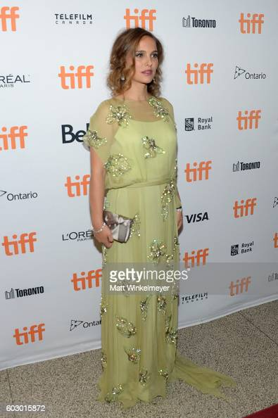 Actress Natalie Portman fashion detail attends the 'Jackie' premiere during the 2016 Toronto International Film Festival at Winter Garden Theatre on...