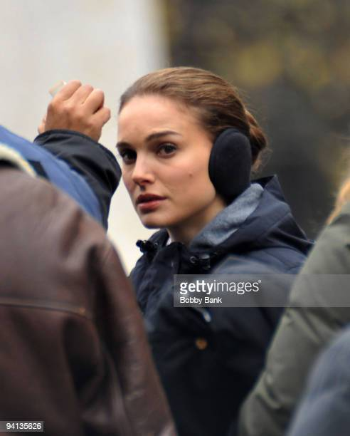 Actress Natalie Portman films on location for 'Black Swan' on the streets of Manhattan on December 7 2009 in New York City