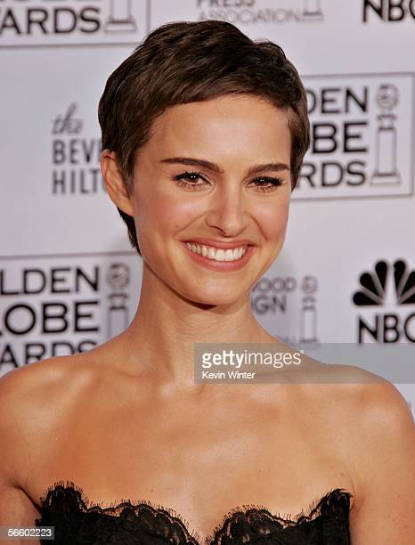 Actress Natalie Portman poses backstage during 63rd Annual Golden Globe Awards at the Beverly Hilton on January 16 2006 in Beverly Hills California