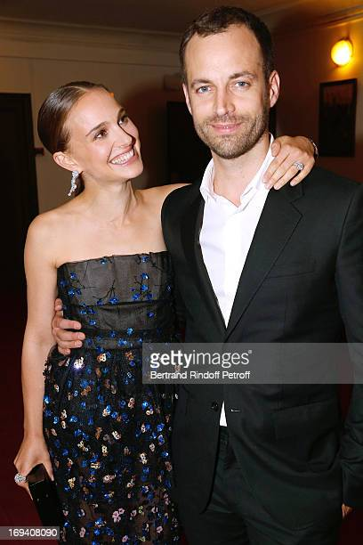 Actress Natalie Portman wearing Dior and Choreographer Benjamin Millepied wearing Balenciaga attend 'Van Cleef Arpels' Collaboration With Benjamin...