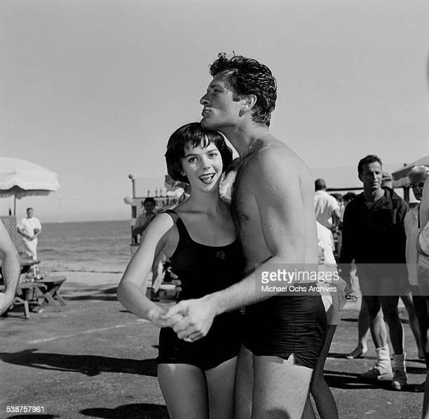 Actress Natalie Wood dances with actor Hugh O'Brian during the Thalians Beach Ball in MalibuCalifornia