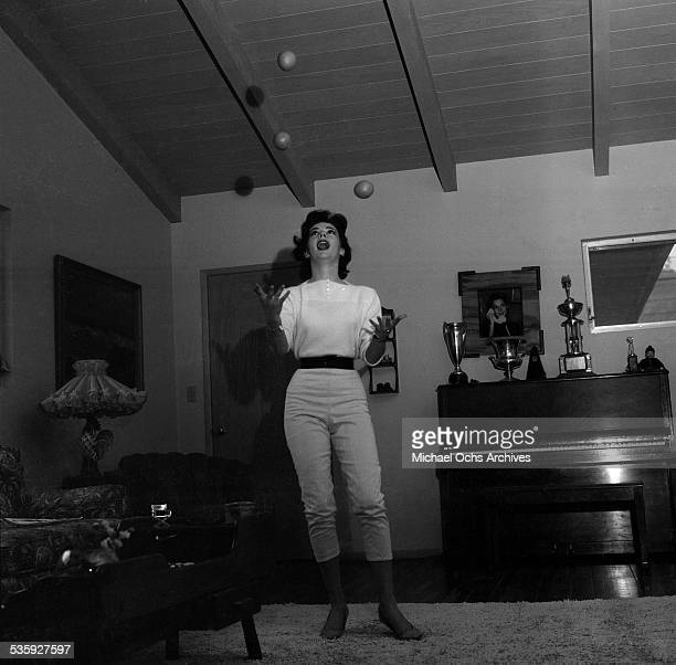 Actress Natalie Wood poses at her home in Los AngelesCA