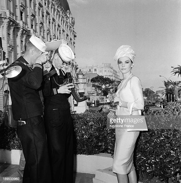 Actress Natalie Wood With Two American US Navy Sailors Cannes May 15 1962