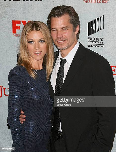 Actress Natalie Zea and actor Timothy Olyphant arrive at the 'Justified' Premiere Screening at the Directors Guild Theatre on March 8 2010 in Los...