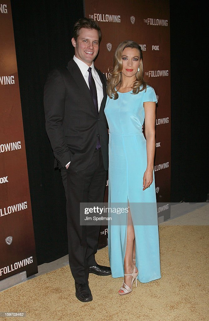 Actress Natalie Zea (R) and guest attend 'The Following' New York Premiere at New York Public Library - Astor Hall on January 18, 2013 in New York City.