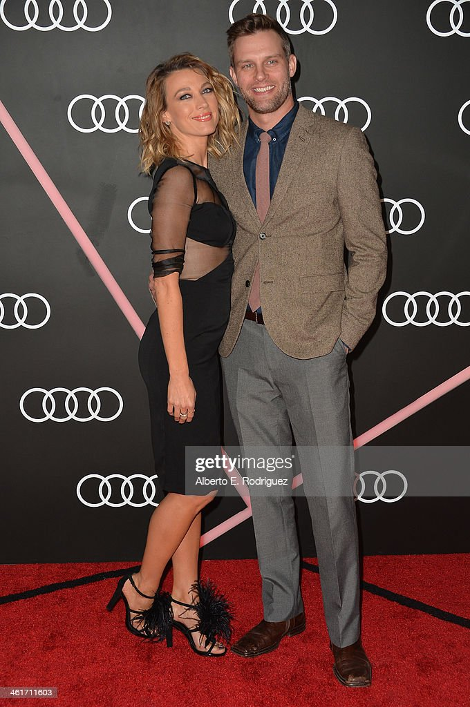 Actress <a gi-track='captionPersonalityLinkClicked' href=/galleries/search?phrase=Natalie+Zea&family=editorial&specificpeople=242853 ng-click='$event.stopPropagation()'>Natalie Zea</a> and Travis Schudt arrive to Audi Celebrates Golden Globes Weekend at Cecconi's Restaurant on January 9, 2014 in Los Angeles, California.