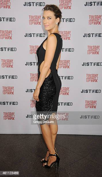 Actress Natalie Zea arrives at the Los Angeles premiere of FX 'Justified' at DGA Theater on January 6 2014 in Los Angeles California