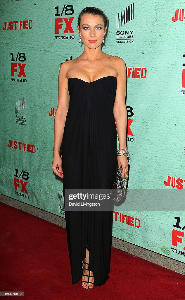 Actress Natalie Zea attends the premiere of FX's 'Justified' Season 4 at the Paramount Theater on the Paramount Studios lot on January 5, 2013 in Hollywood, California.