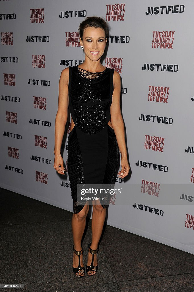 Actress <a gi-track='captionPersonalityLinkClicked' href=/galleries/search?phrase=Natalie+Zea&family=editorial&specificpeople=242853 ng-click='$event.stopPropagation()'>Natalie Zea</a> attends the season 5 premiere screening of FX's 'Justified' at the DGA Theater on January 6, 2014 in Los Angeles, California.