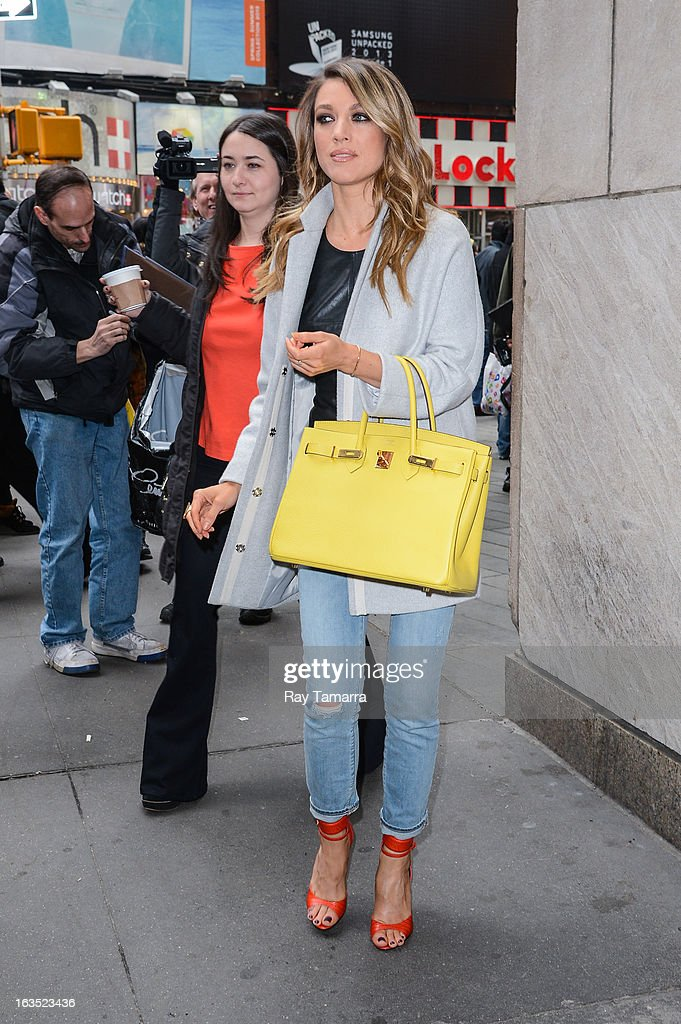Actress Natalie Zea leaves the 'Big Morning Buzz' taping at the VH1 Studios on March 11, 2013 in New York City.