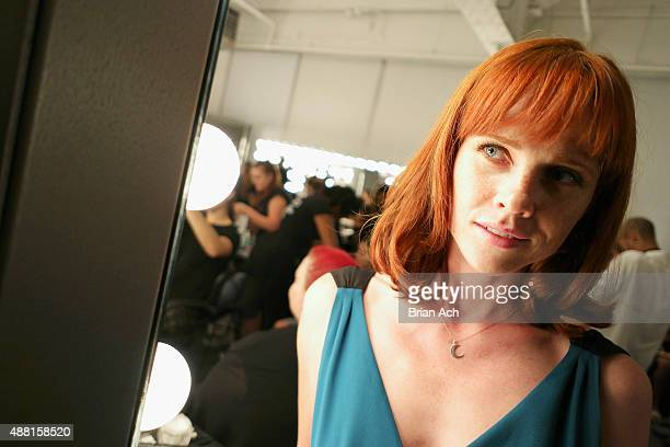 Actress Natalya Rudakova poses backstage at Nolcha Shows During New York Fashion Week Spring/Summer 2016 Collections Backstage at Pier 59 on...