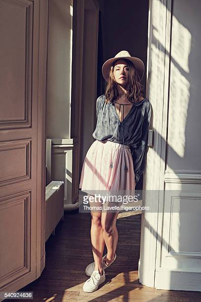 Actress Natasha Andrews is photographed for Madame Figaro on March 14 2016 in Paris France Blouse skirt hat necklace sneakers PUBLISHED IMAGE CREDIT...
