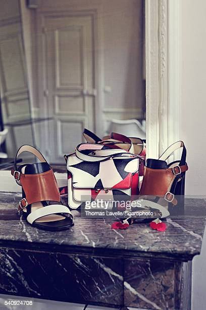 Actress Natasha Andrews's style inspirations are photographed for Madame Figaro on March 14 2016 in Paris France Bag shoes earrings PUBLISHED IMAGE...