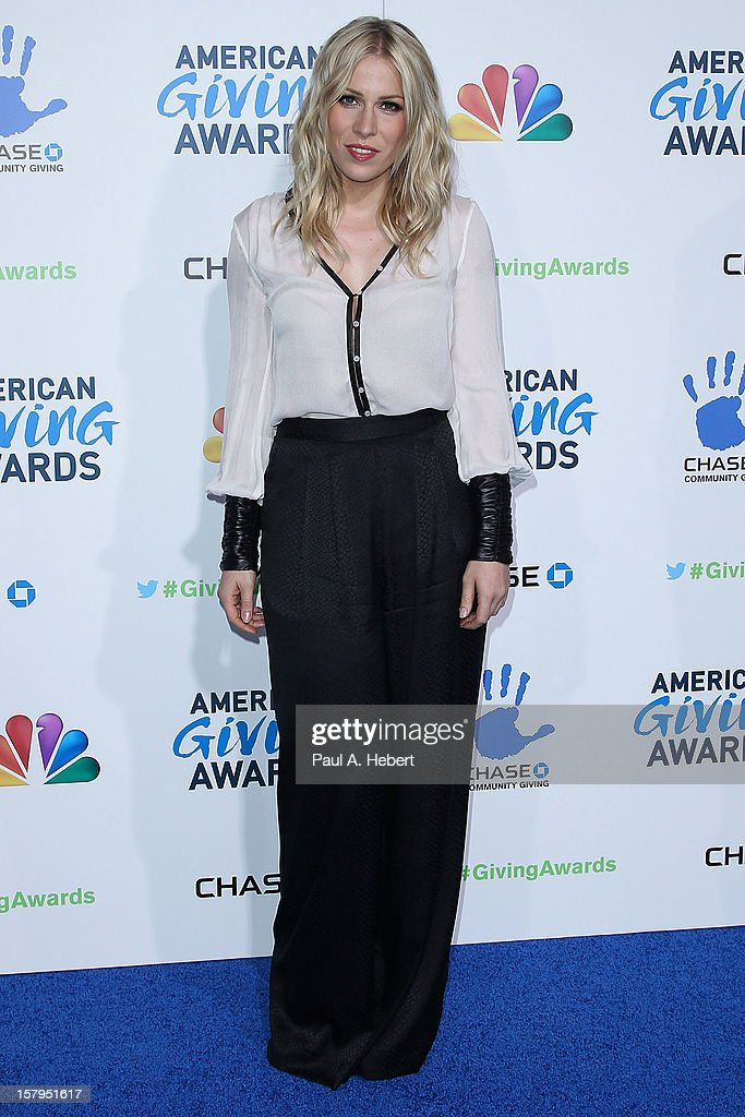 Actress <a gi-track='captionPersonalityLinkClicked' href=/galleries/search?phrase=Natasha+Bedingfield&family=editorial&specificpeople=171728 ng-click='$event.stopPropagation()'>Natasha Bedingfield</a> arrives at the 2nd Annual American Giving Awards presented by Chase held at the Pasadena Civic Auditorium on December 7, 2012 in Pasadena, California.