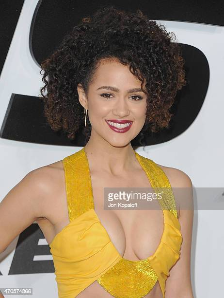 Actress Nathalie Emmanuel arrives at the Los Angeles Premiere 'Furious 7' at TCL Chinese Theatre IMAX on April 1 2015 in Hollywood California