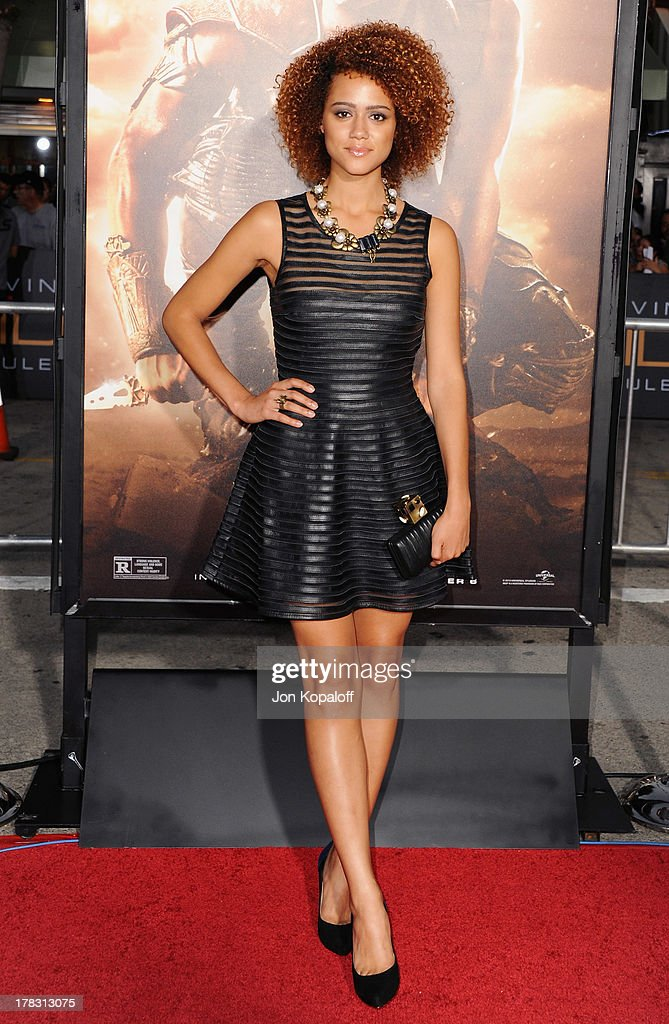 Actress <a gi-track='captionPersonalityLinkClicked' href=/galleries/search?phrase=Nathalie+Emmanuel&family=editorial&specificpeople=4305836 ng-click='$event.stopPropagation()'>Nathalie Emmanuel</a> arrives at the Los Angeles Premiere 'Riddick' at the Mann Village Theater on August 28, 2013 in Westwood, California.