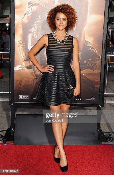 Actress Nathalie Emmanuel arrives at the Los Angeles Premiere 'Riddick' at the Mann Village Theater on August 28 2013 in Westwood California