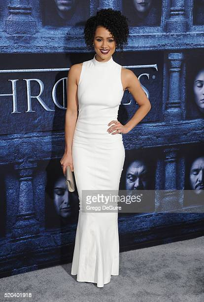 Actress Nathalie Emmanuel arrives at the premiere of HBO's 'Game Of Thrones' Season 6 at TCL Chinese Theatre on April 10 2016 in Hollywood California