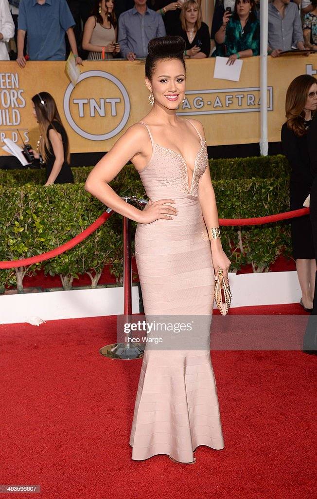 Actress <a gi-track='captionPersonalityLinkClicked' href=/galleries/search?phrase=Nathalie+Emmanuel&family=editorial&specificpeople=4305836 ng-click='$event.stopPropagation()'>Nathalie Emmanuel</a> attends 20th Annual Screen Actors Guild Awards at The Shrine Auditorium on January 18, 2014 in Los Angeles, California.