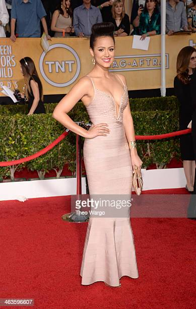 Actress Nathalie Emmanuel attends 20th Annual Screen Actors Guild Awards at The Shrine Auditorium on January 18 2014 in Los Angeles California