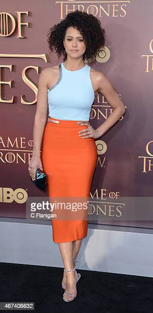 Actress Nathalie Emmanuel attends HBO's 'Game of Thrones' Season 5 Premiere at the San Francisco War Memorial Opera House on March 23 2015 in San...