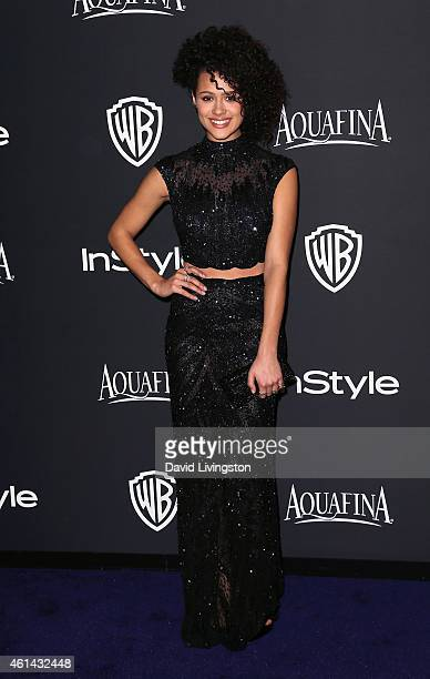 Actress Nathalie Emmanuel attends the 2015 InStyle and Warner Bros 72nd Annual Golden Globe Awards PostParty at The Beverly Hilton Hotel on January...